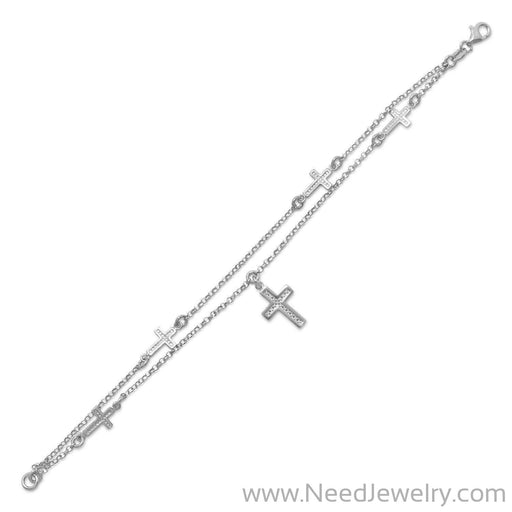 Rhodium Plated Double Strand Cross Charm Bracelet-Bracelets-Needjewelry.com