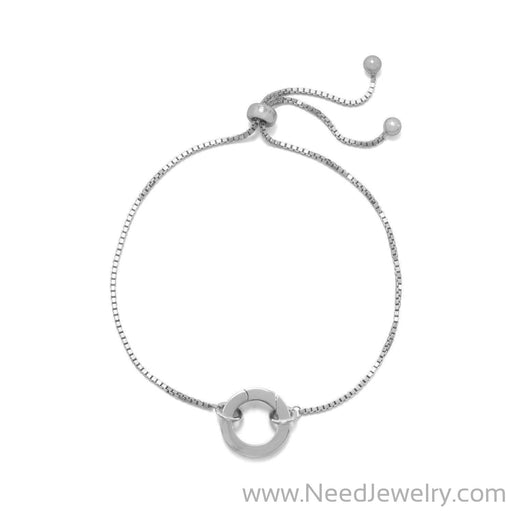 Rhodium Plated Adjustable Circle Hinge Charm Capable Bolo Bracelet-Bracelets-Needjewelry.com