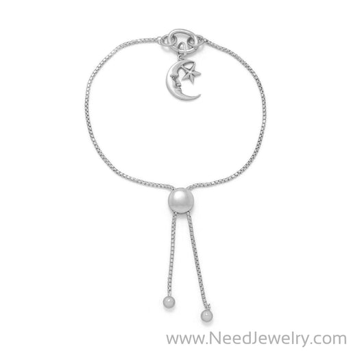 Rhodium Plated Adaptable Round Box Chain Bolo Bracelet-Bracelets-Needjewelry.com