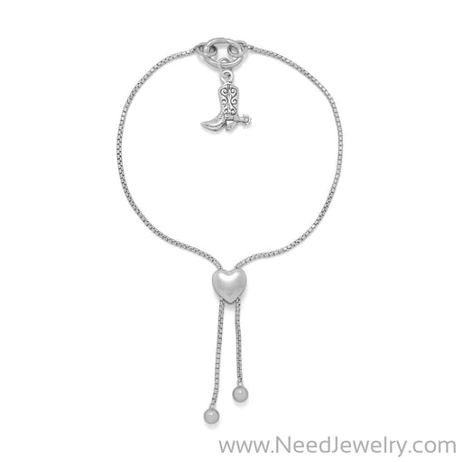 Rhodium Plated Adaptable Heart Box Chain Bolo Bracelet-Bracelets-Needjewelry.com