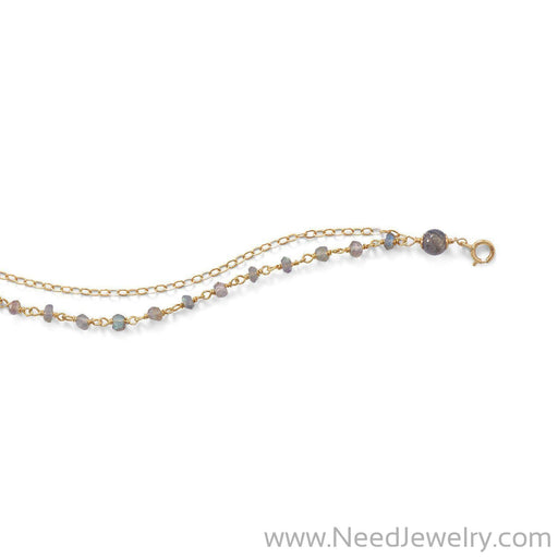Double Strand 14 Karat Gold Plated Labradorite Beaded Bracelet-Bracelets-Needjewelry.com