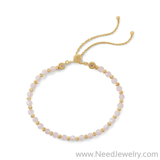 18 Karat Gold Plated Faceted Rose Quartz Bolo Bracelet-Bracelets-Needjewelry.com