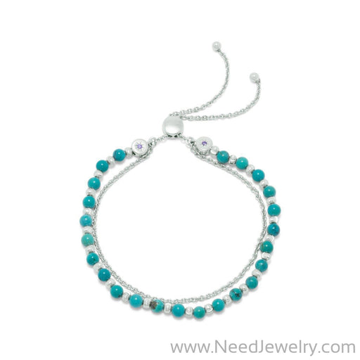 Rhodium Plated Double Strand Reconstituted Turquoise Bolo Bracelet-Bracelets-Needjewelry.com