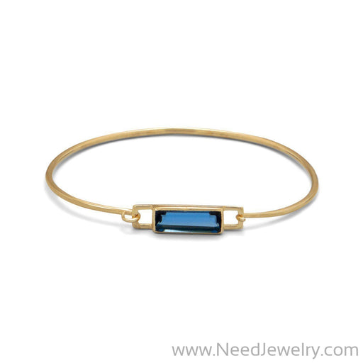 14 Karat Gold Plated Blue Hydro Glass Squeeze Release Bangle-Bracelets-Needjewelry.com