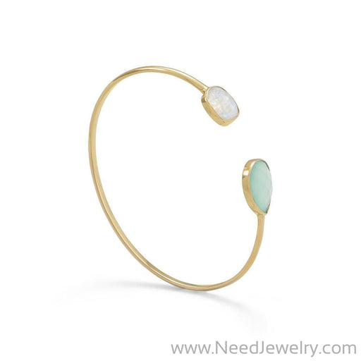 14 Karat Gold Plated Rainbow Moonstone and Green Chalcedony Split Bangle-Bracelets-Needjewelry.com