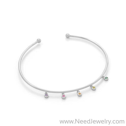 Rhodium Plated Flex Cuff with Multi Color CZ's-Bracelets-Needjewelry.com