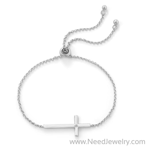 Rhodium Plated Sideways Cross Bolo Bracelet with Diamond-Bracelets-Needjewelry.com