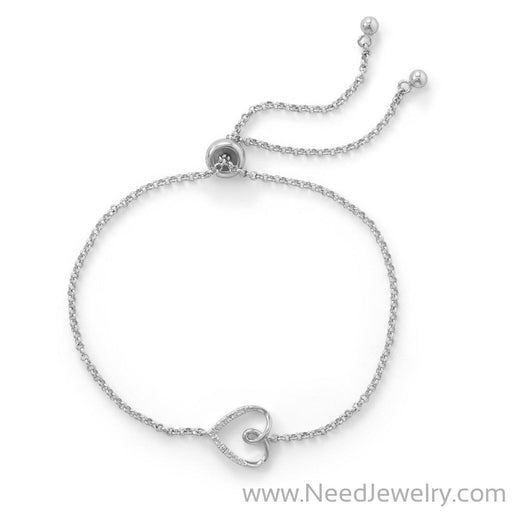 Rhodium Plated Sideways Heart Bolo Bracelet with Diamonds-Bracelets-Needjewelry.com