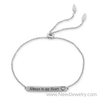 "Rhodium Plated ""Always in my Heart"" Bar Bolo Bracelet with Diamond-Bracelets-Needjewelry.com"