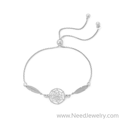 Rhodium Plated Dream Catcher Bolo Bracelet-Bracelets-Needjewelry.com