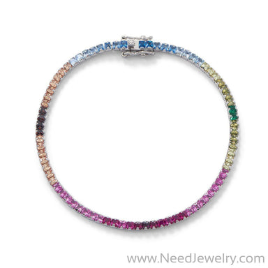 Rhodium Plated Rainbow CZ Tennis Bracelet-Bracelets-Needjewelry.com