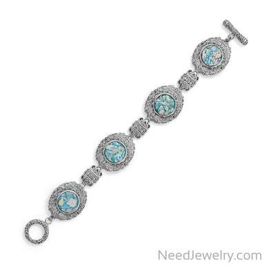"Item # [sku} - 7.5"" Ornate Roman Glass Toggle Bracelet on NeedJewelry.com"