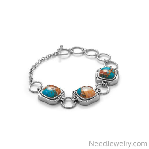 Item # [sku} - Spiny Oyster and Turquoise Toggle Bracelet on NeedJewelry.com