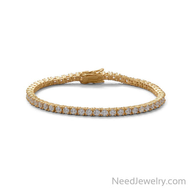 "Item # [sku} - 7"" 14K Gold Plated 3mm CZ Tennis Bracelet on NeedJewelry.com"