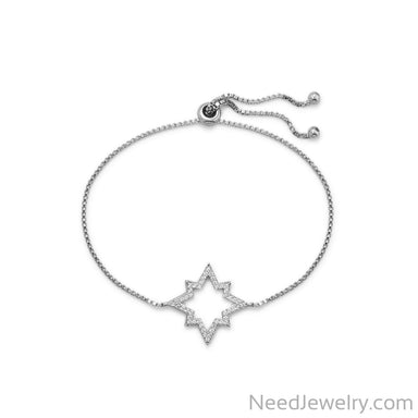 Item # [sku} - Adjustable Star CZ Bolo Bracelet on NeedJewelry.com