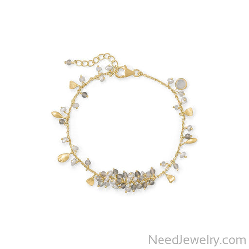 "Item # [sku} - 7""+1 14 Karat Gold Plated Rainbow Moonstone, Labradorite and Pearl Bracelet on NeedJewelry.com"