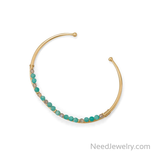 Item # [sku} - 14 Karat Gold Plated Amazonite and Labradorite Cuff on NeedJewelry.com