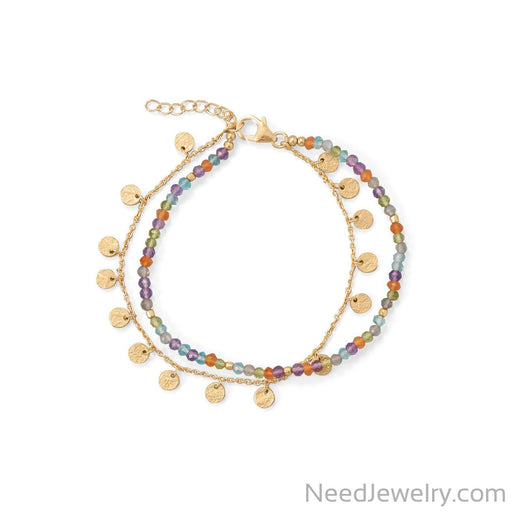"Item # [sku} - 7""+2 Two Strand, Multi Stone Bracelet on NeedJewelry.com"
