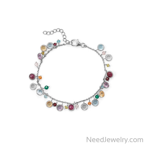"Item # [sku} - 7""+1 Rhodium Plated Multi Stone Charm Bracelet on NeedJewelry.com"