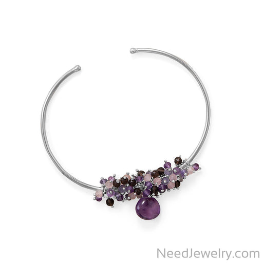 Item # [sku} - Rhodium Plated Amethyst, Multi Stone Beaded Cuff Bracelet on NeedJewelry.com