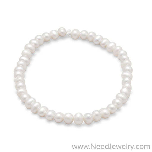 White Cultured Freshwater Pearl Stretch Bracelet-Bracelets-Needjewelry.com