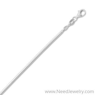 2mm Round Omega Necklace-Chains-Needjewelry.com