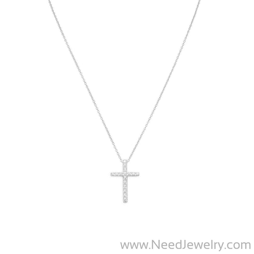 "16"" CZ Cross Necklace-Necklaces-Needjewelry.com"