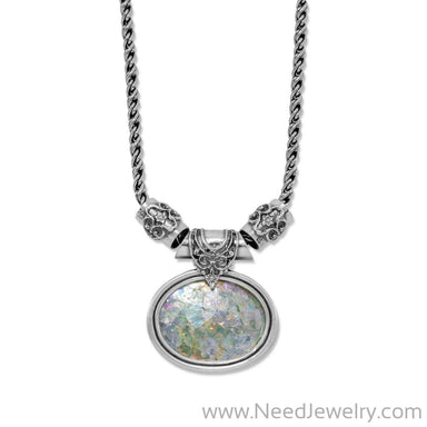 "18"" Large Oval Roman Glass Necklace-Necklaces-Needjewelry.com"