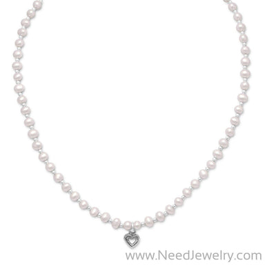 "13""+2"" Extension Cultured Freshwater Pearl/Silver Bead Necklace with Oxidized Heart-Necklaces-Needjewelry.com"