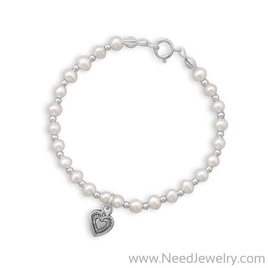 "6"" Cultured Freshwater Pearl and Silver Bead Bracelet with Oxidized Heart-Bracelets-Needjewelry.com"