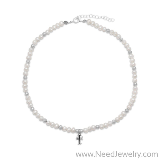 "13"" +2"" Extension White Cultured Freshwater Pearl and Silver Bead Necklace with Cross Drop-Necklaces-Needjewelry.com"