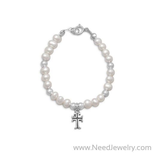 "5"" White Cultured Freshwater Pearl and Silver Bead Bracelet with Cross-Bracelets-Needjewelry.com"