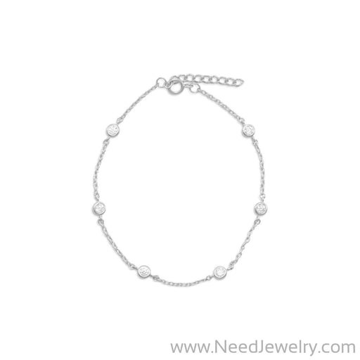 "9"" + 1"" Extension Rhodium Plated 6 Bezel Set CZ Anklet-Body jewelry-Needjewelry.com"
