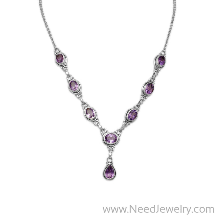"15""+1"" Extension Oval and Pear Shape Amethyst Necklace-Necklaces-Needjewelry.com"