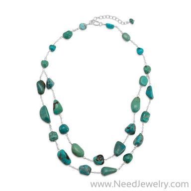 "16"" + 2"" Extension Double Strand Reconstituted Turquoise Nugget Necklace-Necklaces-Needjewelry.com"
