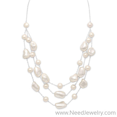 "16""+2"" Extension Graduated Shell and Cultured Freshwater Pearl Necklace-Necklaces-Needjewelry.com"