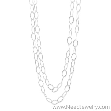 "60"" Hammered Oval Link Necklace-Necklaces-Needjewelry.com"