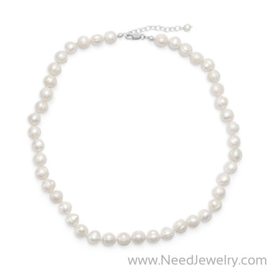 "18""+2"" Extension White Cultured Freshwater Pearl Necklace-Necklaces-Needjewelry.com"