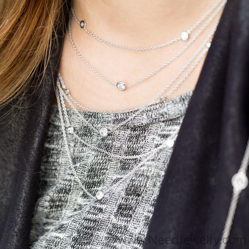 "16""+2"" Extension Rhodium Plated Multistrand Graduated Necklace with CZs-Necklaces-Needjewelry.com"