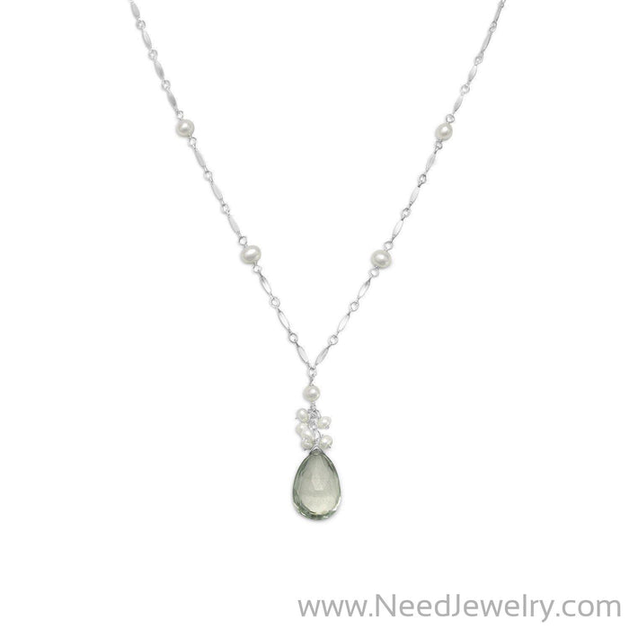 "16""+2"" Extension Prasiolite and Cultured Freshwater Pearl Necklace-Necklaces-Needjewelry.com"