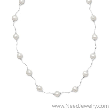 "17""+2"" Extension Wave Design Necklace with Cultured Freshwater Pearls-Necklaces-Needjewelry.com"