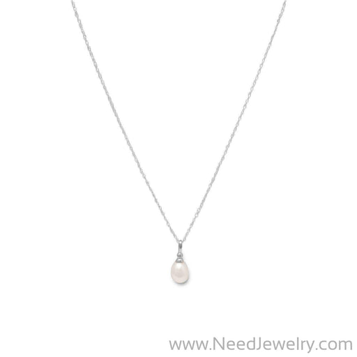 "18"" Rhodium Plated Cultured Freshwater Pearl Drop Necklace-Necklaces-Needjewelry.com"