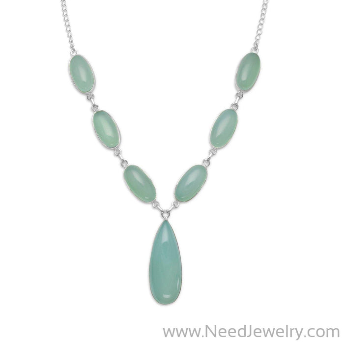 "17.5"" Green Chalcedony Necklace-Necklaces-Needjewelry.com"
