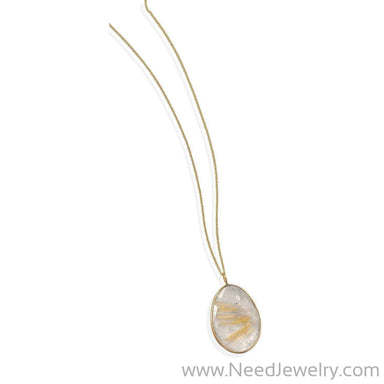 "16""+1""+1"" Extension 14 Karat Gold Plated and Rutilated Quartz Necklace-Necklaces-Needjewelry.com"