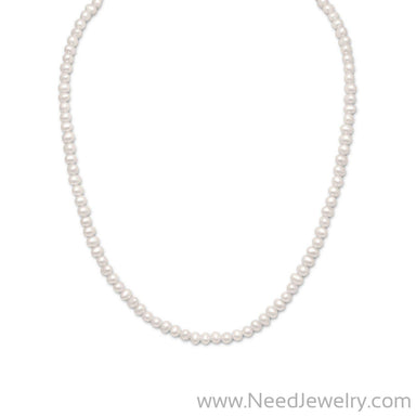 "15""+2"" Extension White Cultured Freshwater Pearl Necklace-Necklaces-Needjewelry.com"