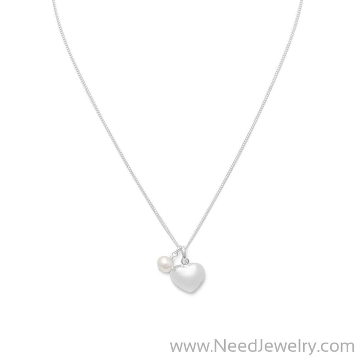 "16""  Heart & Cultured Freshwater Pearl Necklace-Necklaces-Needjewelry.com"