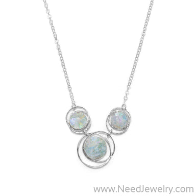 "17"" Abstract Circle Roman Glass Necklace-Necklaces-Needjewelry.com"