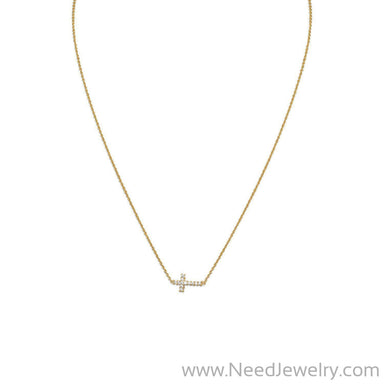 "16"" 14 Karat Gold Plated Necklace with Sideways CZ Cross-Necklaces-Needjewelry.com"