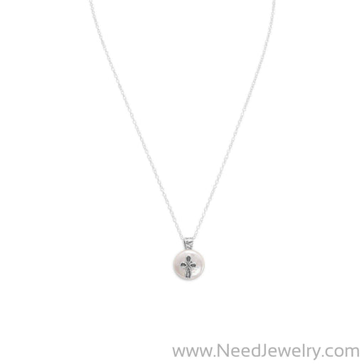 "17.5"" Cultured Freshwater Pearl with Cross Design Necklace-Necklaces-Needjewelry.com"