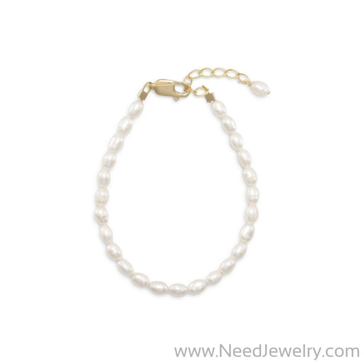 "5""+1"" 14/20 Gold Filled Cultured Freshwater Rice Pearl Bracelet-Bracelets-Needjewelry.com"